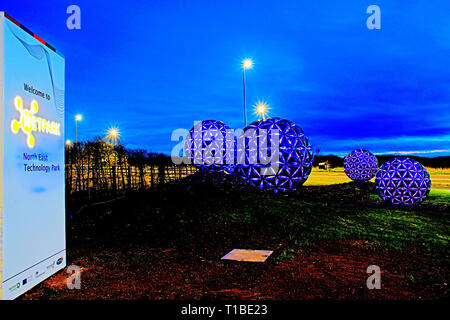 Net Park at night, Sedgefield, County Durham, England - Stock Image