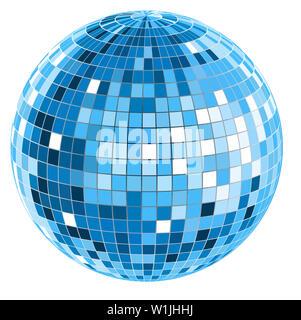 blue mirror disco ball  glowing illumination round sphere illustration  party - Stock Image