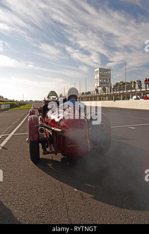 MG on the start line at a Vintage Sports-Car Club event at Goodwood. - Stock Image