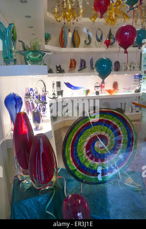 Glassware from the famous Venetian school. Shop window in the island of Murano. - Stock Image
