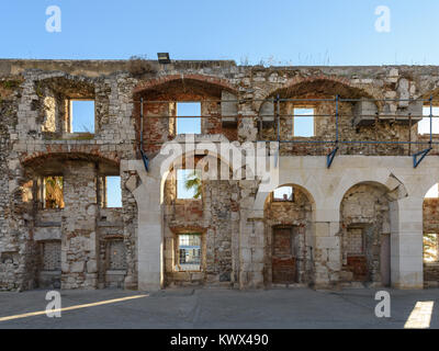 Southern wall of Diocletian's Palace, Split, Croatia - Stock Image