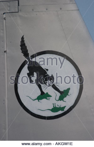 Rivolto Italia Air show 2005, cat and mouses insignia on tail - Stock Image