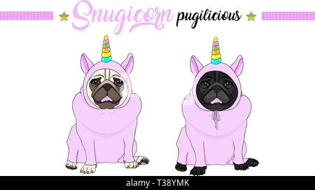 cute vector pug puppy dog sitting down, wearing pink jumpsuit with unicorn horn with rainbow colors - Stock Image