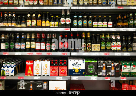 Display of the a wide variety of bottled beers in Booths Supermarket Ripon North Yorkshire England UK - Stock Image