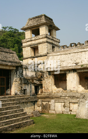 Inner Courtyard of the Palace and Tower Observatory, Palenque Archeological Site, Chiapas State, Mexico - Stock Image