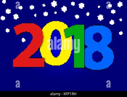 2018 Happy New Year Greeting Card with shimmer numbers and scattered blue on black background. Merry Christmas invitation - Stock Image