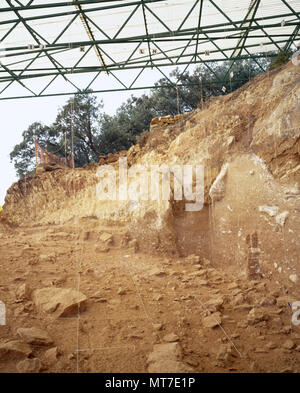 Paleolithic era. Archeological Site of Atapuerca. 'Railway Trench' (Trinchera del Ferrocarril) where various fossil sediments were discovered. Topographic and stratigraphic marks. Excavation square technique and archaeological test pits. Province of Burgos, Castile and Leon, Spain. Unesco World Heritage Site. - Stock Image