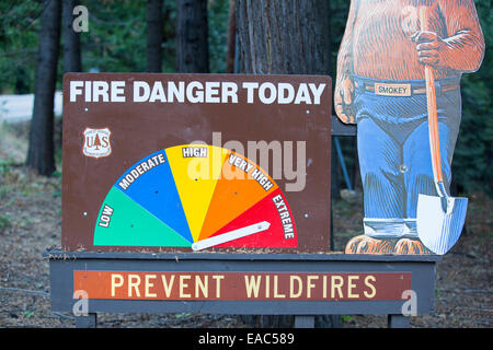 A sign showing extreme fir danger near the King Fire that burned 97,717 acres of the El Dorado National Forest in - Stock Image