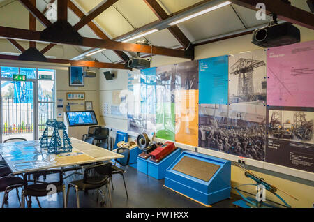 Middlesbrough Transporter Bridge Visitor Centre interior with drawings charts photographs and models detailing design and construction of the bridge - Stock Image