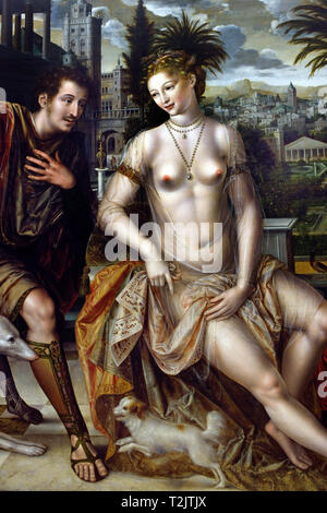 David and Bathsheba by 1562, Jan MASSYS, 1509 - 1575, Belgium Belgian ( Book of Samuel in the Bible. On a terrace at his palace, King David watches Bathsheba, the wife of Uriah, whom he covets, and sends a servant to fetch her. ) - Stock Image