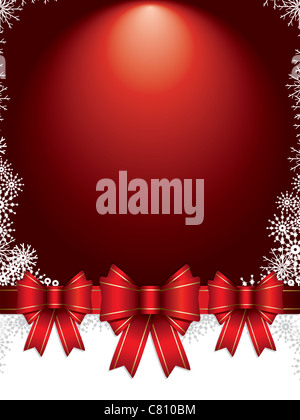 holiday background with bows and snowflakes vector illustration - Stock Image