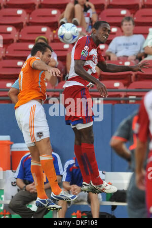 06 AUG 2009: FC Dallas Midfielder Atiba Harris wins the ball over Dynamo Brian Ching as FC Dallas wins 1-0. (Credit - Stock Image