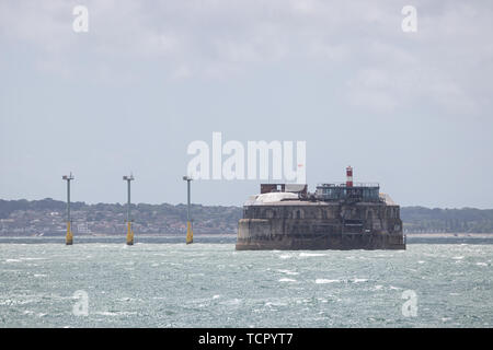 The solent forts in the solent near Southsea, Hampshire - Stock Image