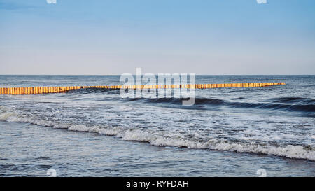 Panoramic view of a wooden sea breakwater at sunrise. - Stock Image