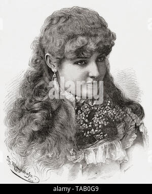 Lillian Russell, 1860/1861 -1922. American actress and singer. From La Ilustracion Iberica, published 1884. - Stock Image