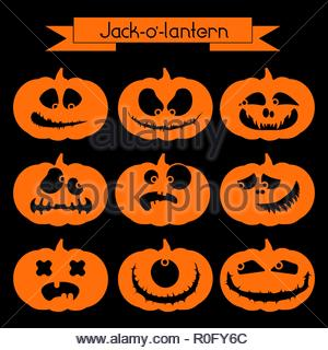 Halloween pumpkin with scary faces. Set of 9 orange symbols on the black background - Stock Image