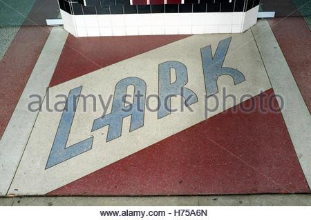 Entrance flooring to Lark, a cinema in Larkspur, Marin County, California, USA. - Stock Image