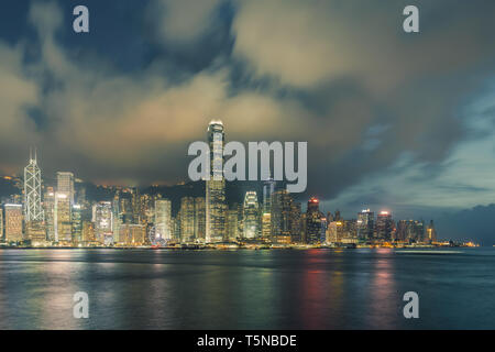 Night view of Victoria Harbour in Hong Kong. - Stock Image