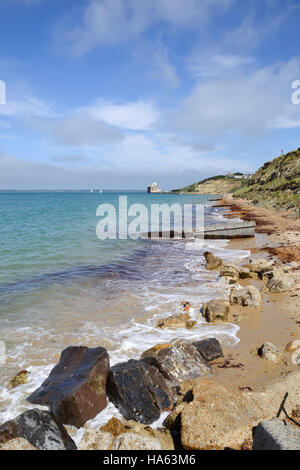 Colwell Bay on the Isle of Wight looking towards Fort Albert - Stock Image