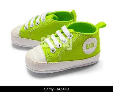 Green Baby Shoes Side View Isolated on White Background. - Stock Image
