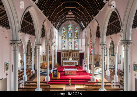Stow Hill, Newport, South Wales, UK. St Mary's Church (R.C.) was built in 1839. The roof is supported by slender metal columns, the first use in Wales - Stock Image