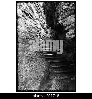 Black and white photo of rock staircase in dry Athabasca River channel - Stock Image