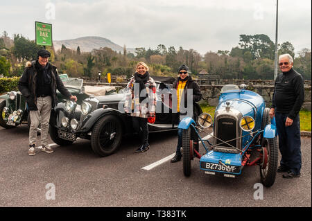 Glengarriff, West Cork, Ireland. 7th Apr, 2019. The French car club 'Amilcar' is currently on a 6 day tour of Ireland.  The club made a stop at the Eccles Hotel, Glengarriff this afternoon. Credit: Andy Gibson/Alamy Live News. - Stock Image