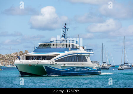 St Martin St Barts Ferry arriving in St Barts - Stock Image