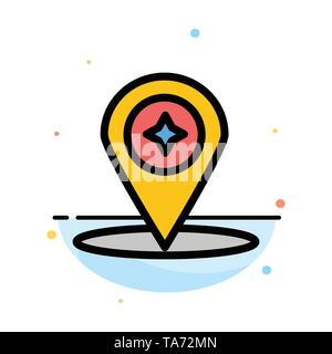 Map, Compass, Navigation, Location Abstract Flat Color Icon Template - Stock Image