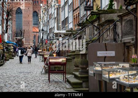 Ulica Mariaka (Street), Gdansk, Poland - Stock Image