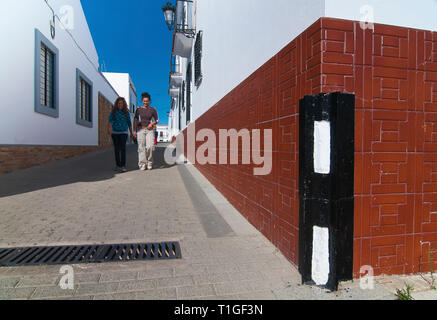 Urban view (street corners with traditional steel protection). Alosno. Huelva province. Region of Andalusia. Spain. Europe - Stock Image