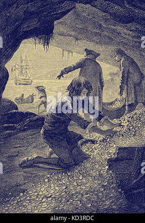 Treasure Island by Robert Louis Stevenson. Caption reads: 'I was kept busy all day in the cave, packing the - Stock Image