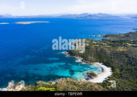 View from above, stunning aerial view of the Prince Beach (Spiaggia del Principe) bathed by a beautiful turquoise sea. Costa Smeralda (Emerald Coast)  - Stock Image