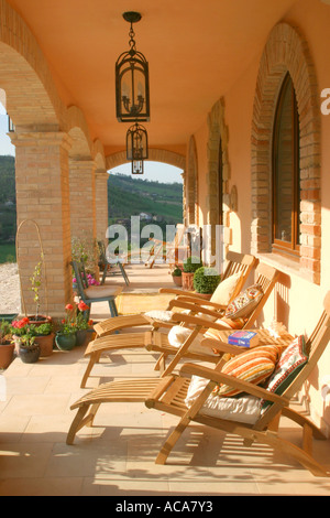 beautiful  relaxing Loggia ---an  atmospheric part of renovated house in Le Marche Italy - Stock Image