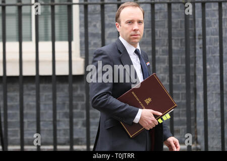 Downing Street, London, UK. 20th Mar, 2019. Matt Hancock MP, Secretary of State for Health and Social Care.Cabinet Ministers enter and leave Downing Street several times during an eventful day in Westminster. Credit: Imageplotter/Alamy Live News - Stock Image