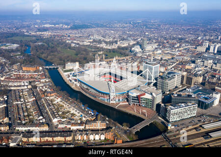 Cardiff aerial view Wales capital cityscape panoramic skyline feat. River Taff and city center in UK with Principality Stadium home of Welsh rugby - Stock Image