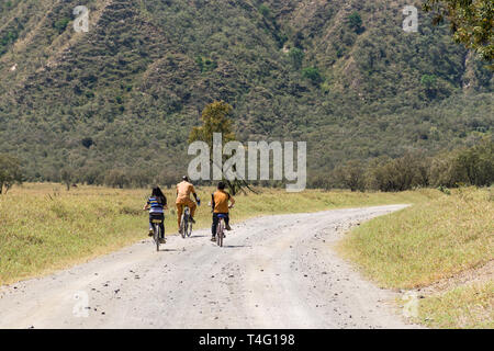 Tourists with guide riding bicycles on a dusty road, Hells Gate National Park, Kenya - Stock Image