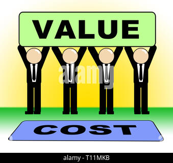 Cost Versus Value Sign Portrays Spending vs Benefit Received. Analysis Of Return On Investment Or Roi - 3d Illustration - Stock Image