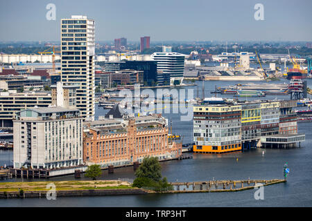 Amsterdam, Netherlands, Silodam, MVRDV Apartment Complex, Houthavens district, Pontsteiger complex in the former wooden port, on the Ij, Houthavens, - Stock Image