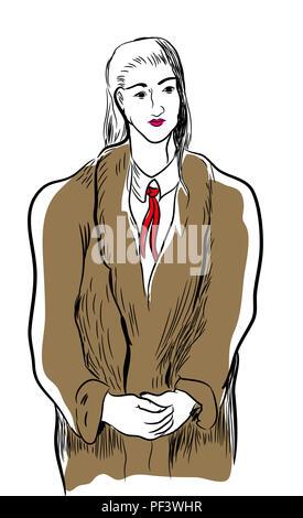 woman wearing fur coat.  illustration of standing woman wearing fur coat. - Stock Image