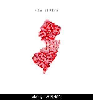 I Love New Jersey. Red Hearts Pattern Vector Map of New Jersey - Stock Image