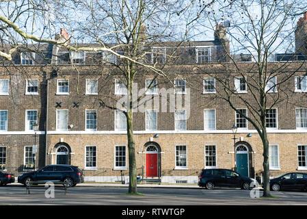 Gerogian terraced houses Highbury Place, Highbury Fields, London Borough of Islington, England Britain UK - Stock Image