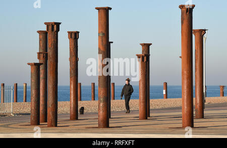 Brighton, UK. 26th Jan, 2019. A beautiful sunny morning on Brighton seafront by the Golden Spiral as the unusually warm weather continues throughout Britain with some areas forecast to reach over 20 degrees centigrade again Credit: Simon Dack/Alamy Live News - Stock Image