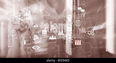 Digital concept internet of things information and telecommunication technology. Double exposure icons and server room background - Stock Image