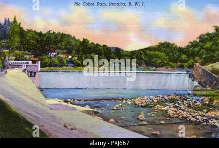 Rio Cobre Dam, Jamaica, West Indies, Caribbean. The dam harnesses the waters of the Rio Cobre for the purpose of irrigation.     Date: circa 1940s - Stock Image