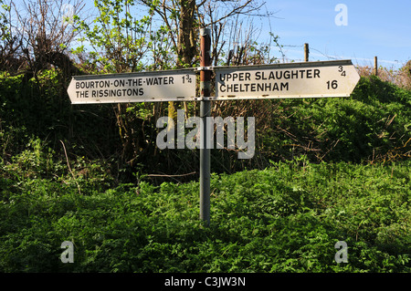 Road sign near Lower Slaughter, Gloucestershire - Stock Image