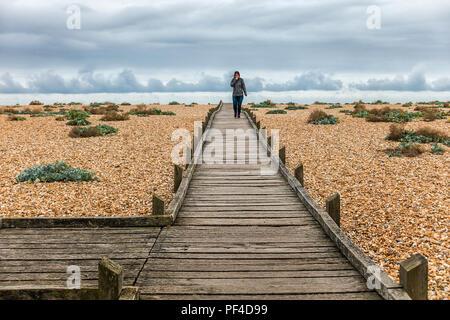 Girl,Walking,Alone,Dungeness,Shingle,Beach,Kent,Coast,England,UK - Stock Image