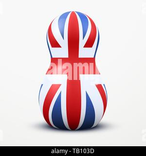 Russian tradition matrioshka dolls in Great Britain flag style. Vector Illustration, eps10. - Stock Image