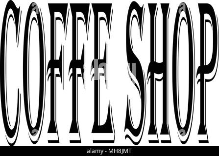 Coffe Shop text sign illustration on white background - Stock Image