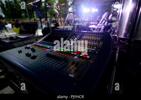 Philadelphia, USA. 08th Sep, 2018. Soundboard backstage at a performance of cosmic and experimental jazz ensemble Sun Ra Arkestra, conducted by the 94 year old Marshall Allen, in Philadelphia, PA, on September 8, 2018. Credit: PhotograPHL/Alamy Live News - Stock Image